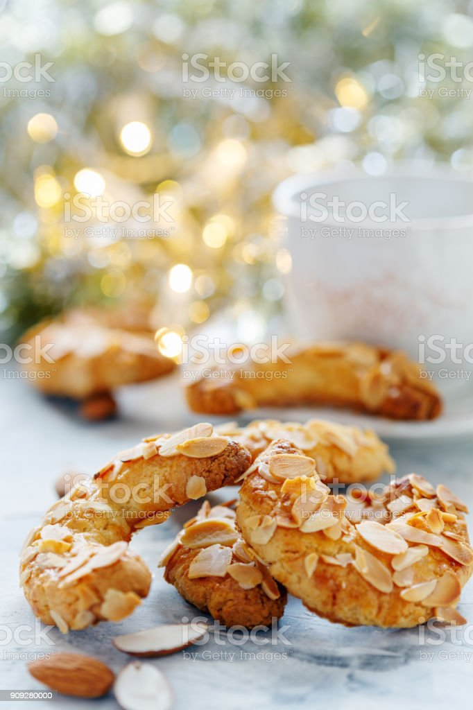 Almond Crescent cookies. stock photo