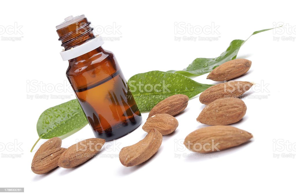 Almond essential oil stock photo