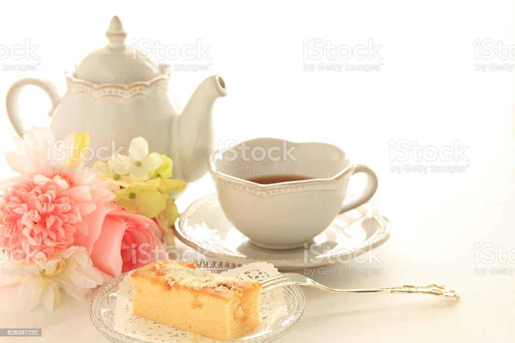 almond flake on cake stock photo