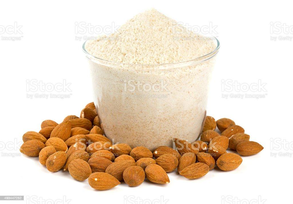 almond flour isolated on white stock photo