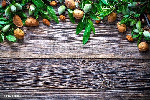 Almond fruits and almond tree banches copy space on rustic wooden board and nuts
