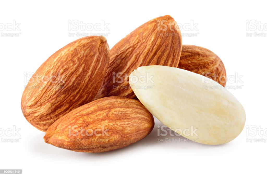 Almond isolated. Almonds on white background. Full depth of fielda stock photo