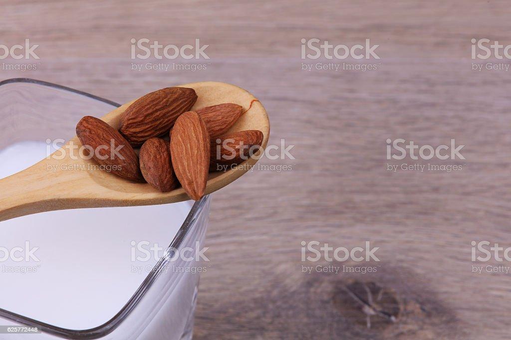 Almond milk. copy space stock photo