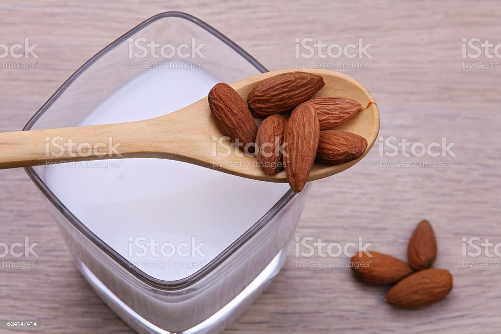 Almond milk. Healthy eating, substitute for dairy intolerant people stock photo