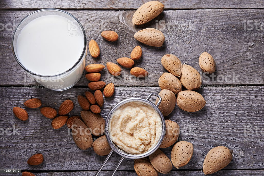 almond milk in bottle stock photo