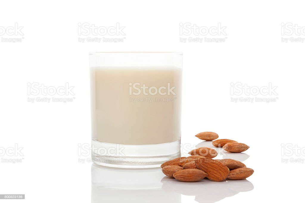 Almond milk. stock photo