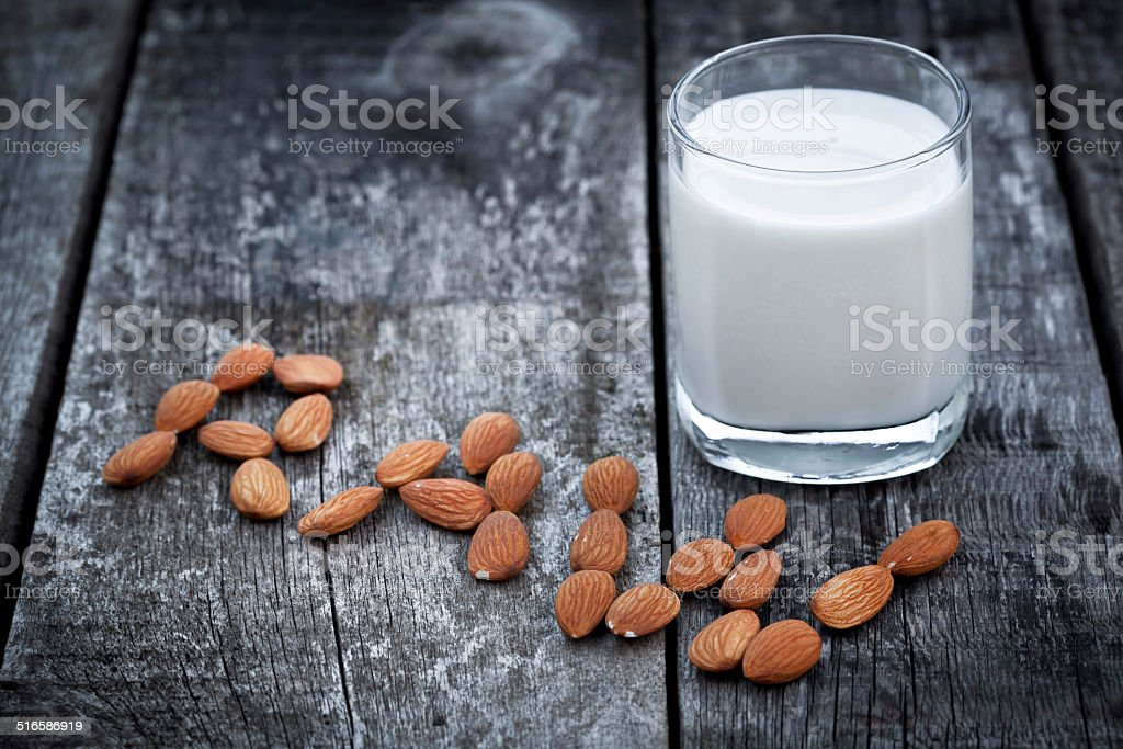 Almond milk, vegan healthcare drink stock photo