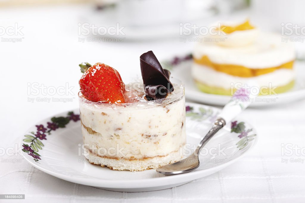 Almond mousse with strawberry and chocolate royalty-free stock photo