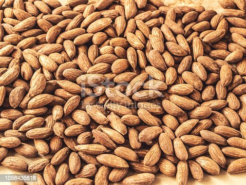 Almond nuts background, close-up