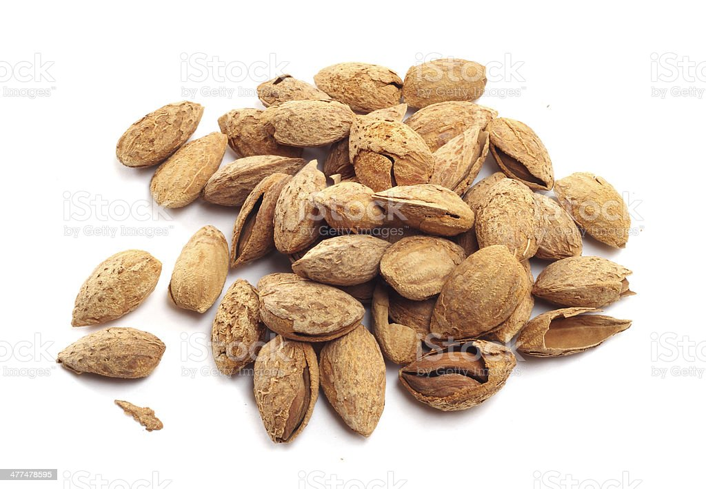 Almond nuts in shell royalty-free stock photo