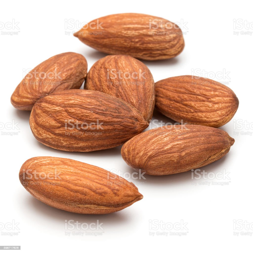 almond nuts isolated on white background close up stock photo