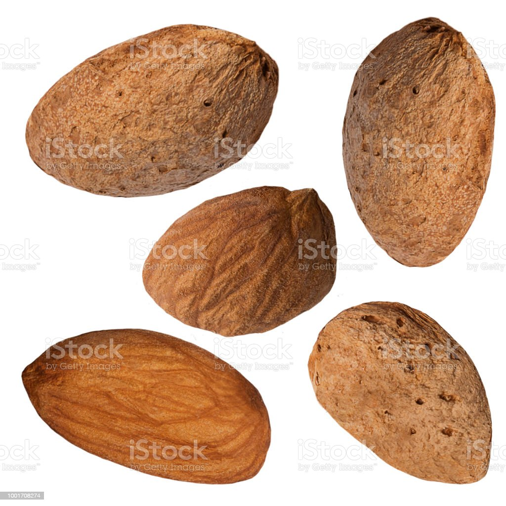 Almond nuts isolated on white background with clipping path as package design element and advertising - foto stock