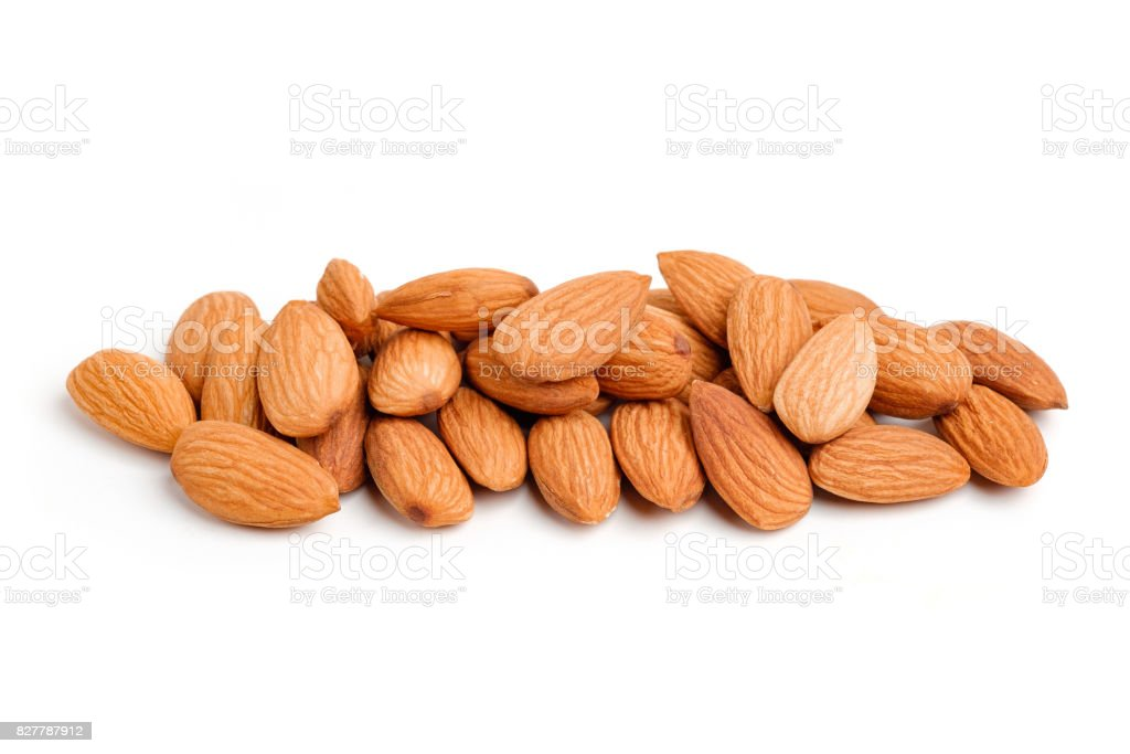 Almond nuts on white background stock photo