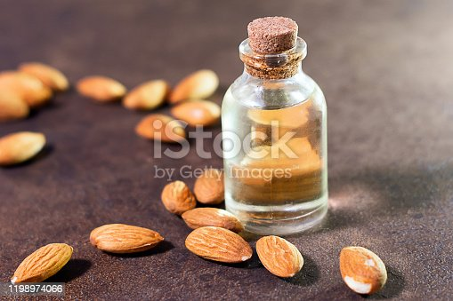 almond oil close-up. selective focus. the use of oil in cosmetics, nutrition, and cooking.