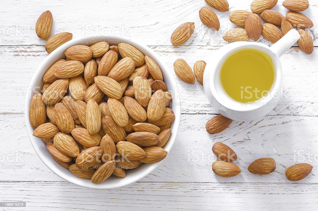 Almond oil stock photo