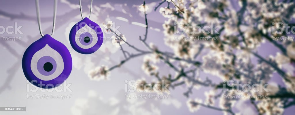 Almond or apple tree blooming in spring on blue sky background, close up view with details stock photo