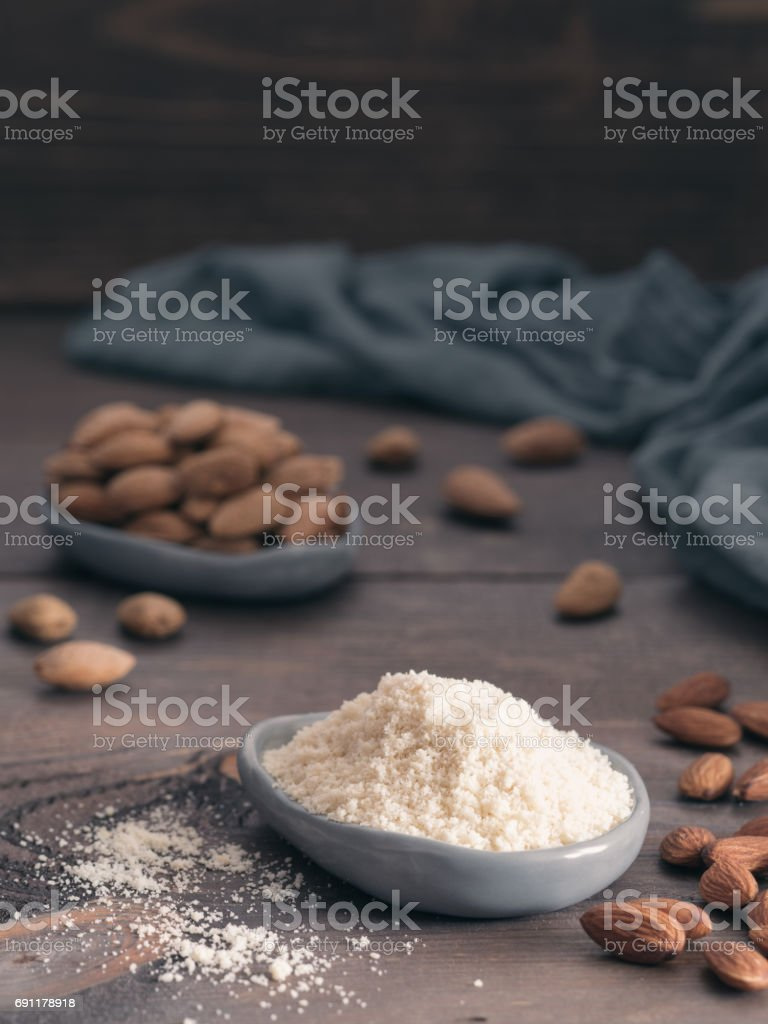 almond powder or almon flour stock photo