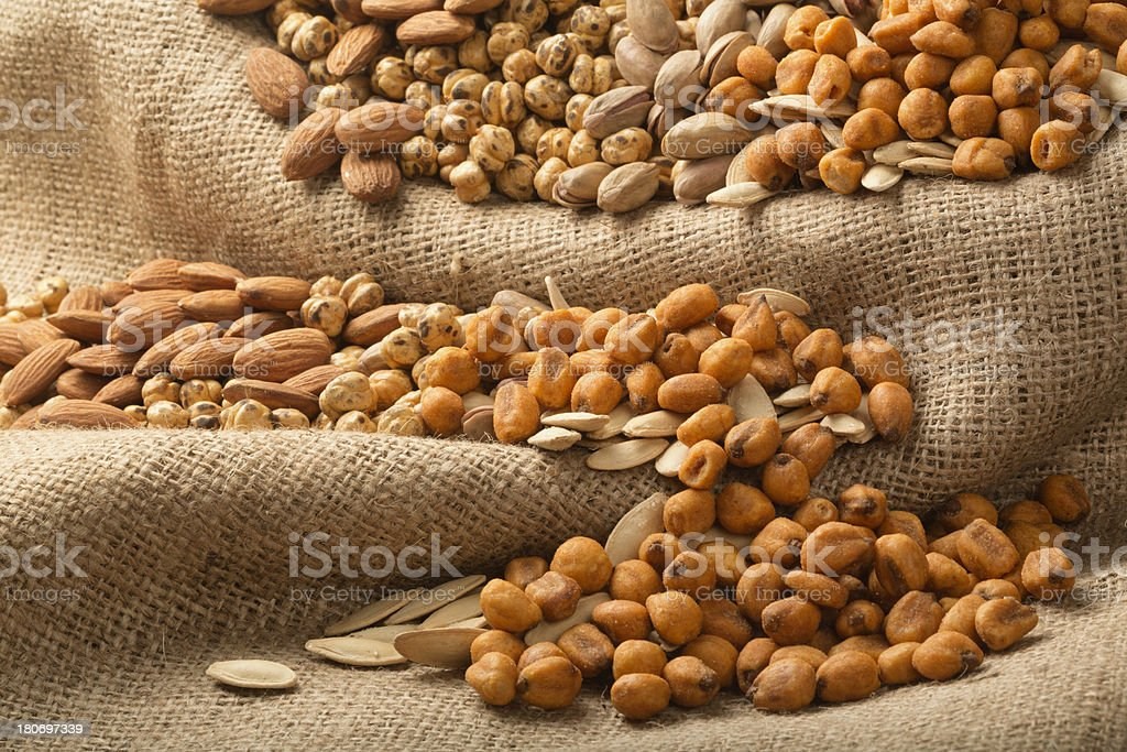Almond, Pumpkin Seeds, Pistachio, Chickpeas, Roasted Corn royalty-free stock photo