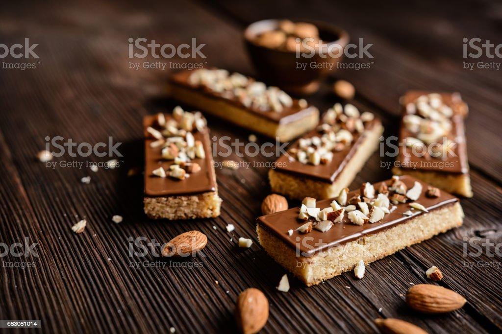 Almond shortbread sticks with chocolate glaze zbiór zdjęć royalty-free