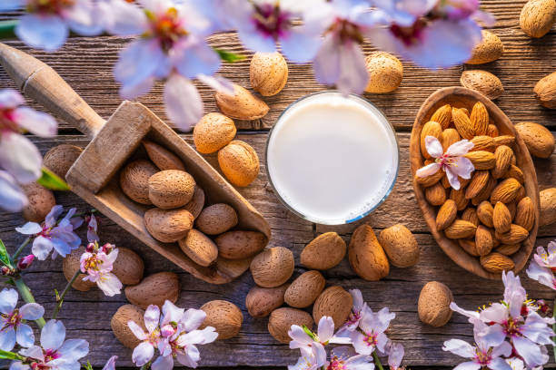 Almond spring blossom harvest on wood stock photo