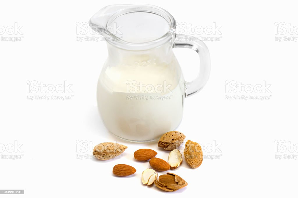 almonds and almond milk stock photo