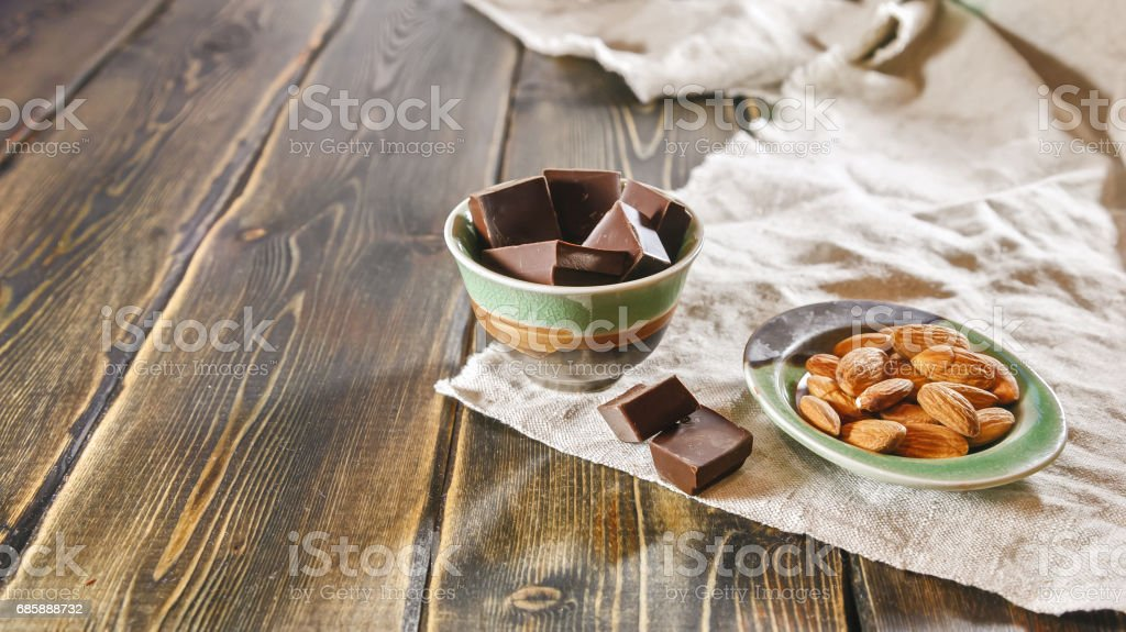 Almonds and chocolate stock photo