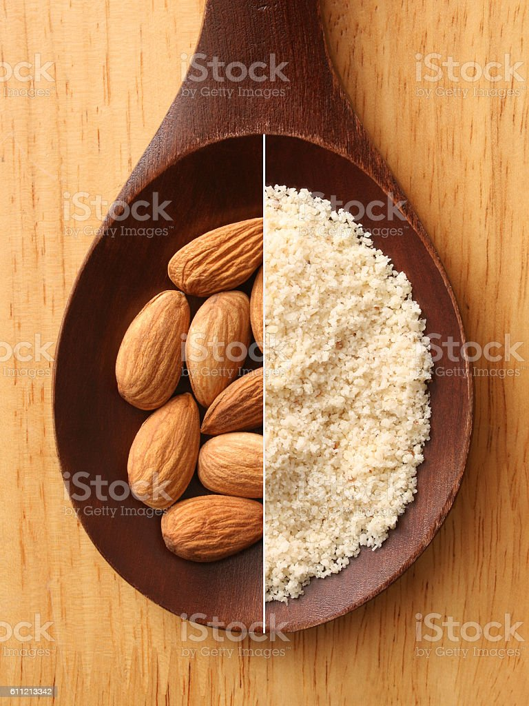 Almonds and flour composition stock photo