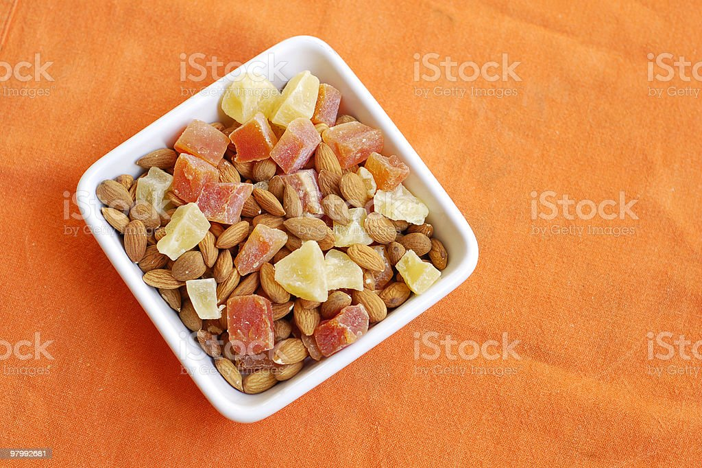 Almonds and Fruit.. royalty-free stock photo