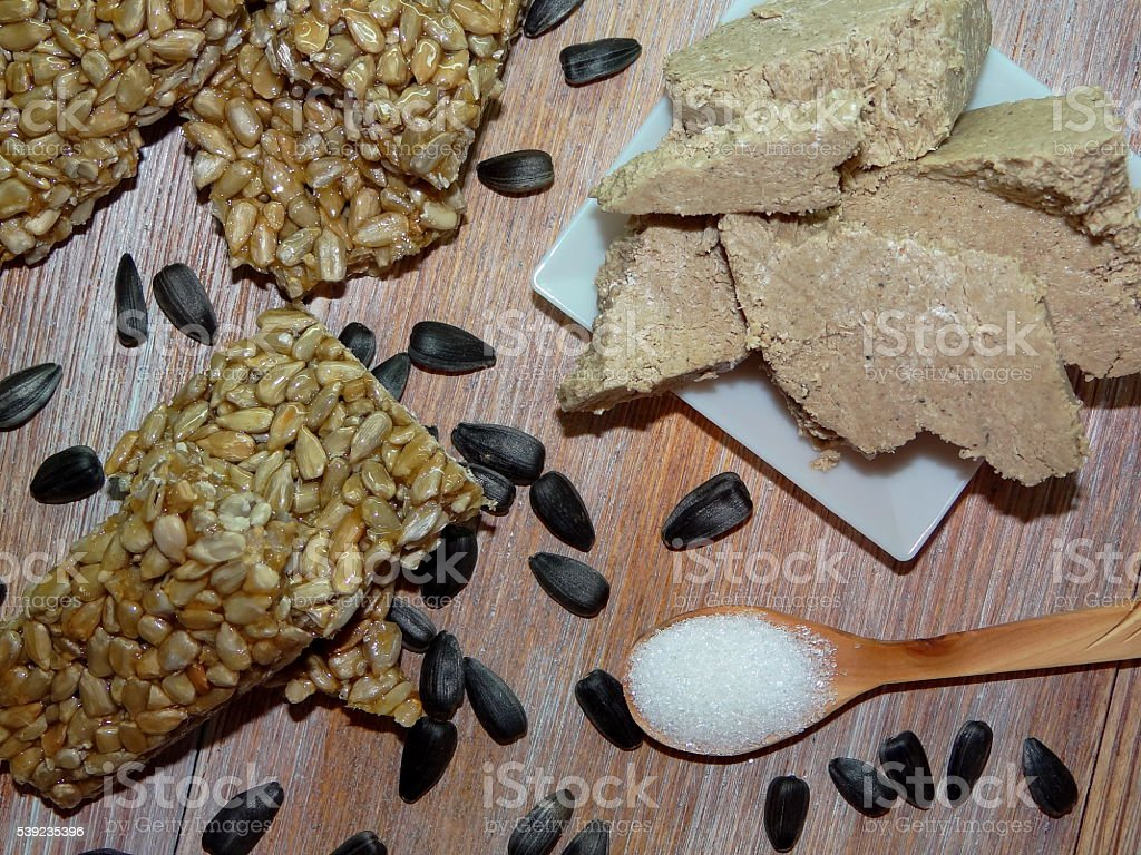 almonds and halva royalty-free stock photo