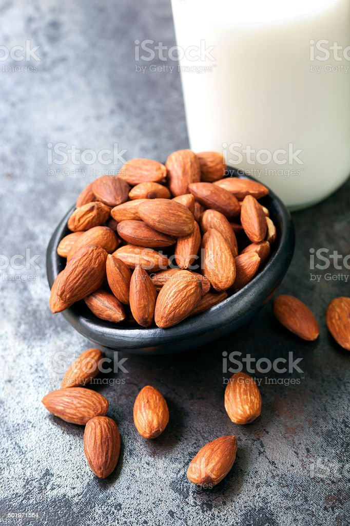 Almonds and Milk stock photo