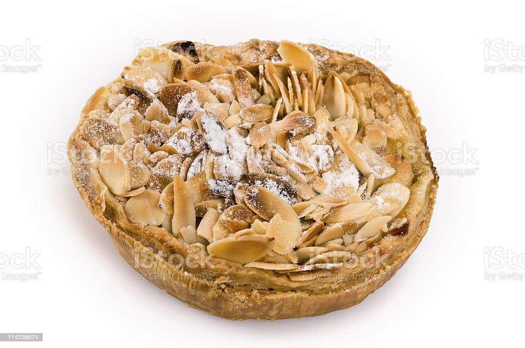 Almonds, apple, and custard tart royalty-free stock photo