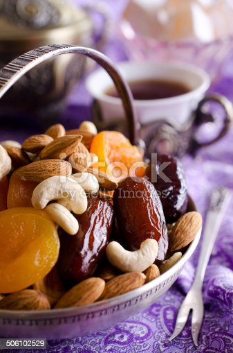 istock almonds, dried apricots, cashews, dates, lying in a metal bowl 506102529