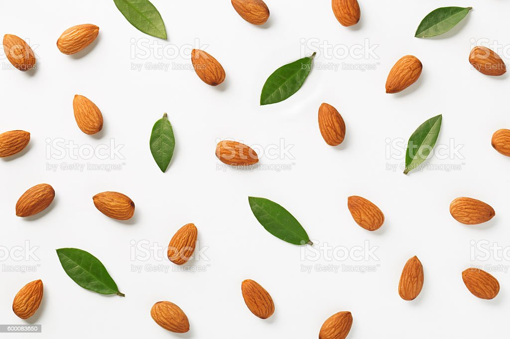 Almonds flat lay pattern stock photo