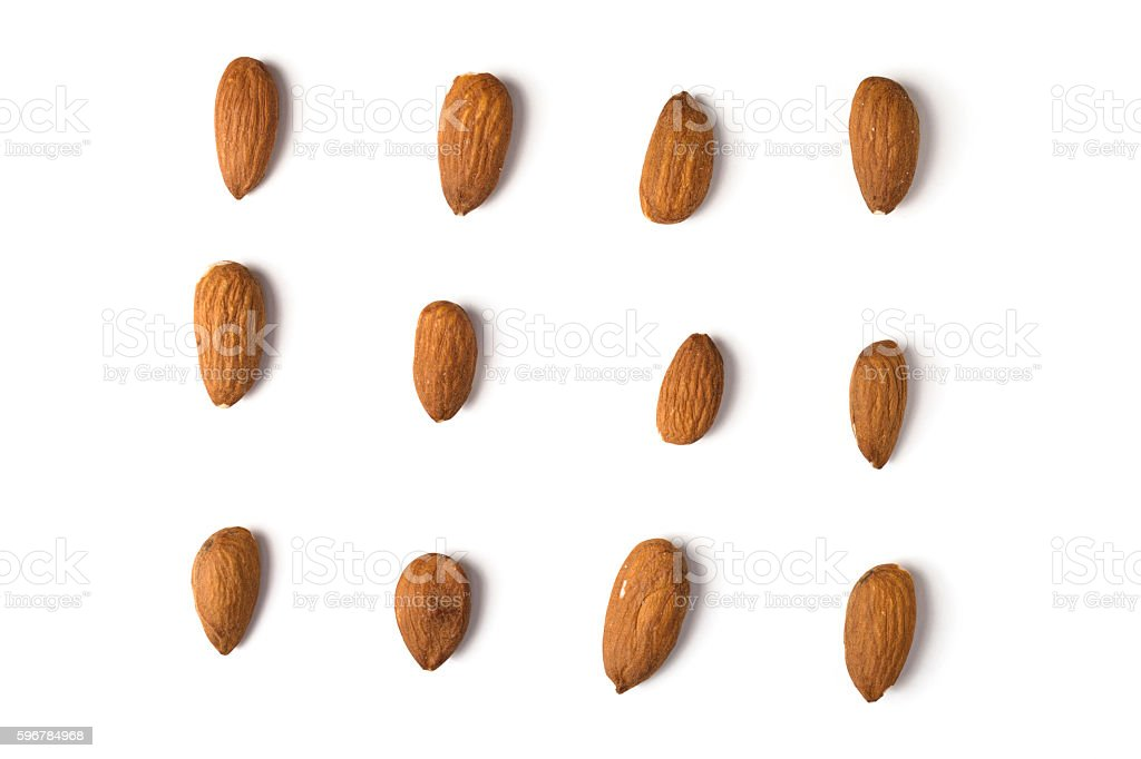 Almonds from above against white. stock photo