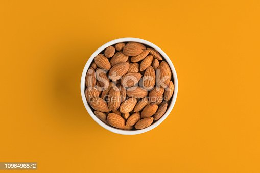 Almond, Nut - Food, Yellow Background, Bowl, Directly Above