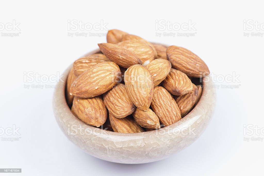 Almonds in bowl royalty-free stock photo