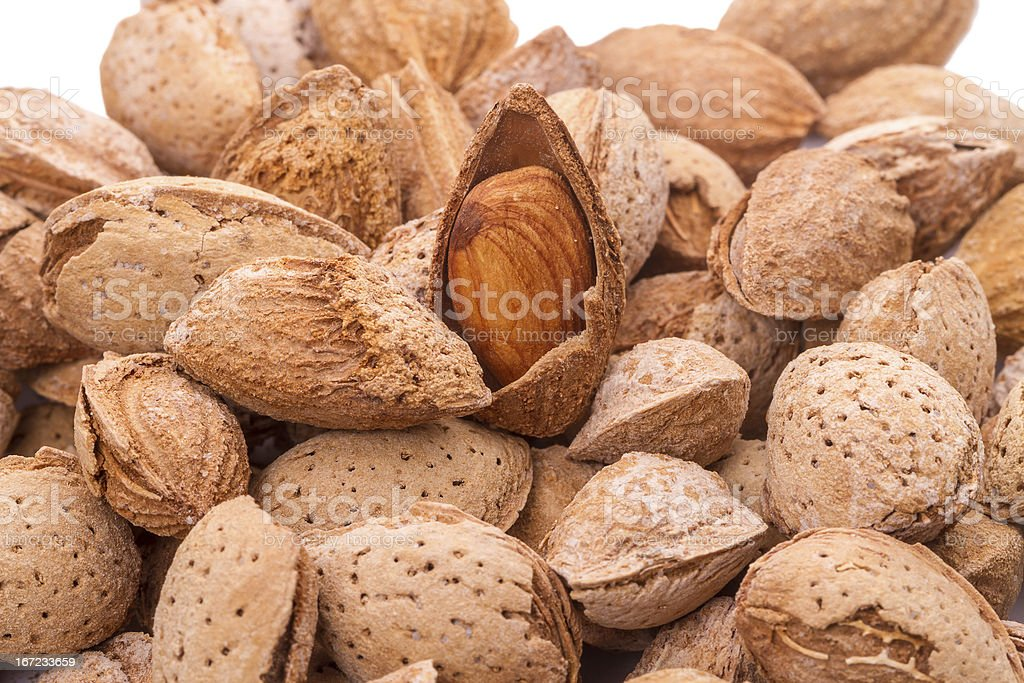Almonds in the shell royalty-free stock photo