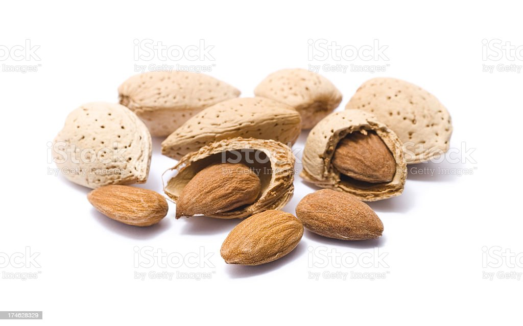 Almonds in their shells royalty-free stock photo