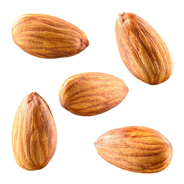 Almonds isolated on white background. Collection. stock photo