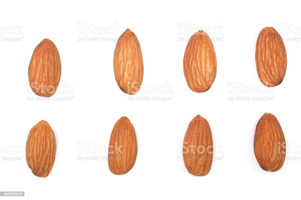 almonds isolated on white background. Flat lay pattern. Set or collection stock photo