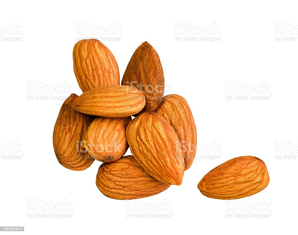 Almonds isolated on white background. stock photo