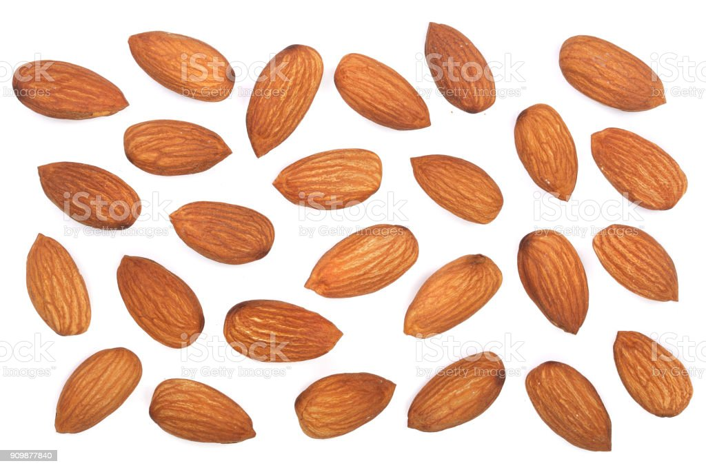 almonds isolated on white background. Top view. Flat lay pattern stock photo