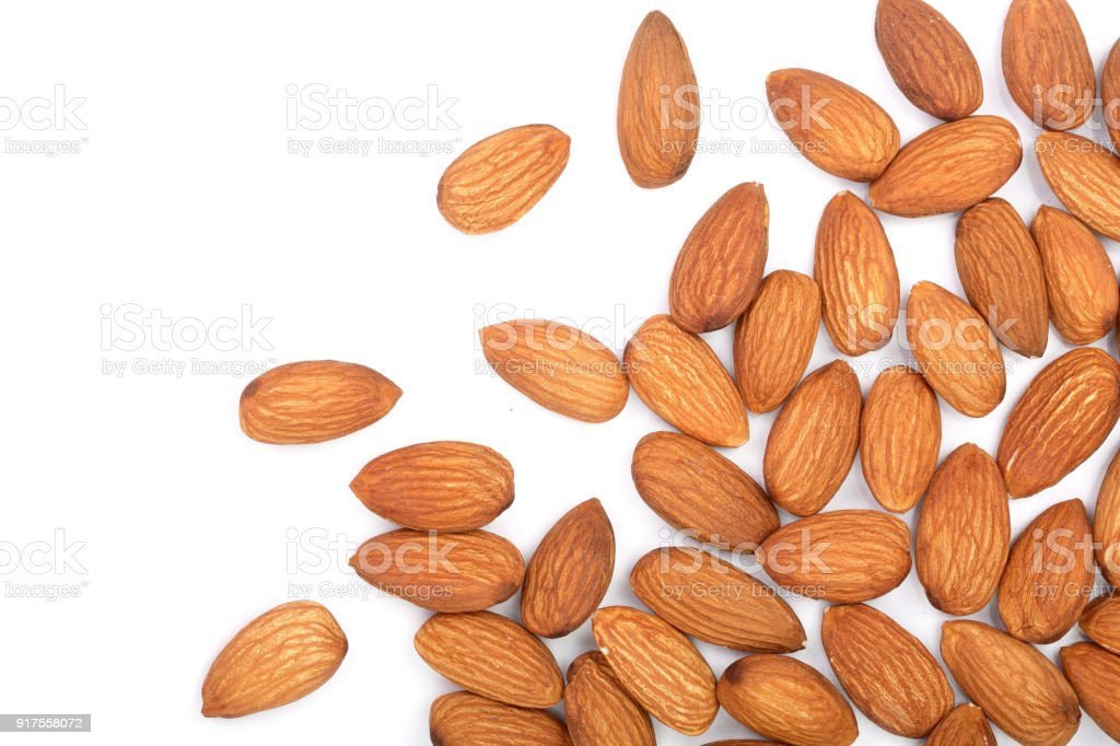 almonds isolated on white background. Top view. Flat lay stock photo