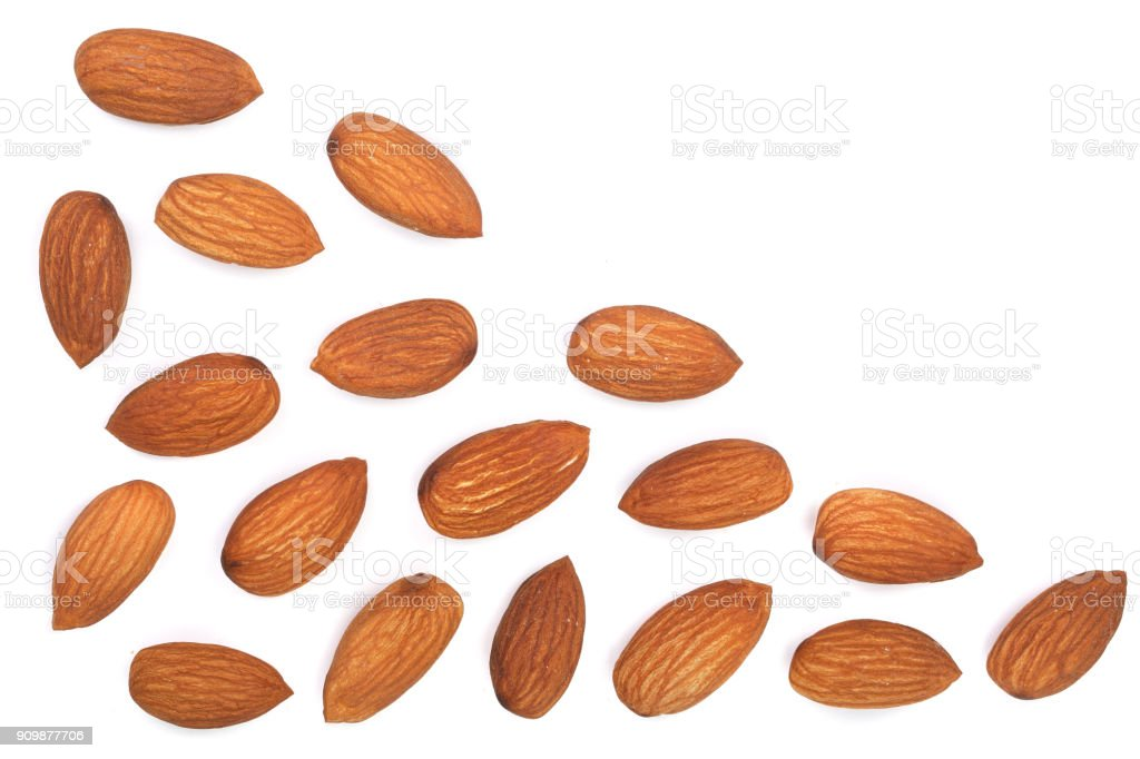 almonds isolated on white background with copy space for your text. Top view. Flat lay pattern stock photo