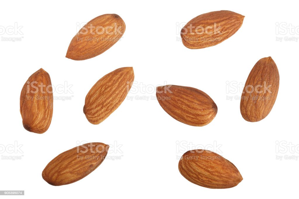 almonds isolated on white background without a shadow close up. Top view stock photo