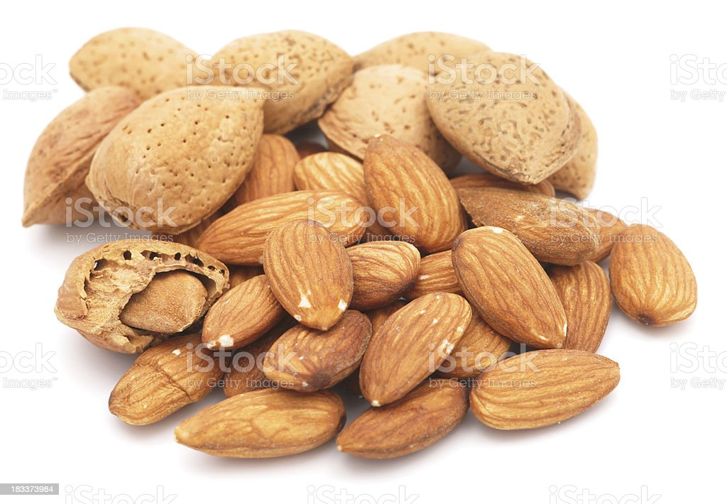 Almonds isolated on white royalty-free stock photo