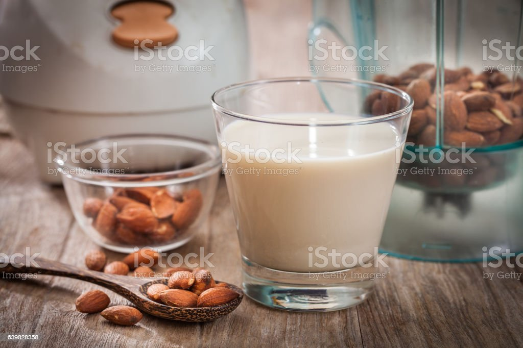 Almonds milk stock photo