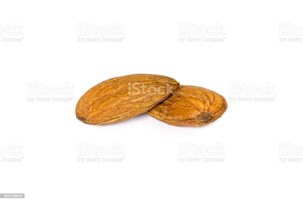 almonds on a white background stock photo