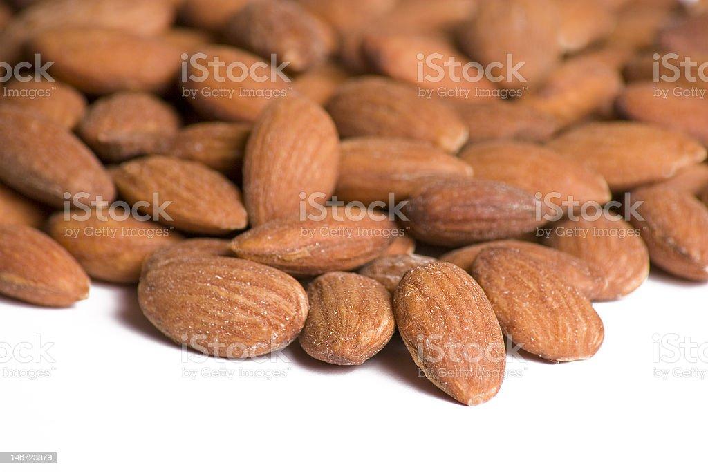 Almonds on White Background royalty-free stock photo