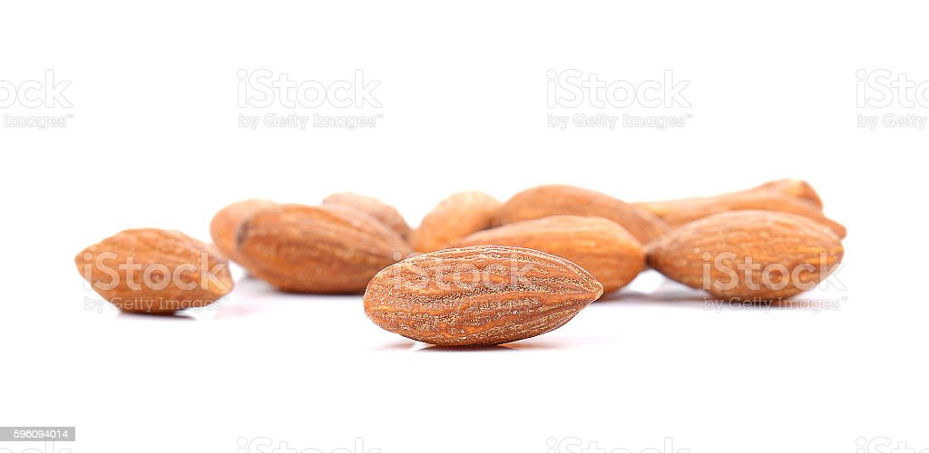 Almonds Salted on white background. royalty-free stock photo